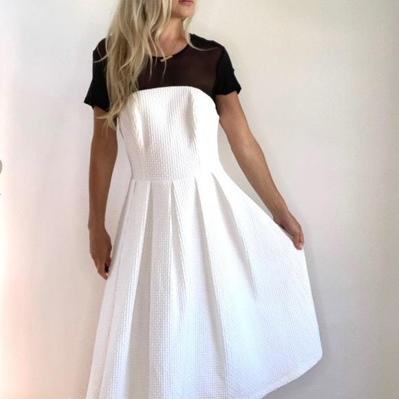 ASOS White & Black Mesh Chest A Line Dress sz 10